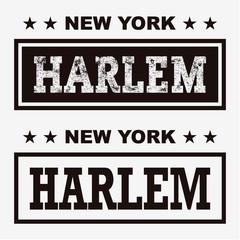 T-shirt graphics, typography. New York, Harlem. Vector.