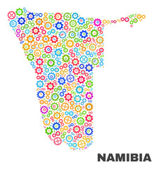 Mosaic technical Namibia map isolated on a white background. Vector geographic abstraction in different colors. Mosaic of Namibia map composed from scattered multi-colored cog items.