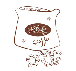 Minimalistic design of coffee beans in the bag. Simple drawing brown outline on white background. Vector jute bag or canvas with label and scattered grains.