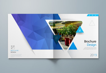Square Blue Business Report Cover Layout with Triangles