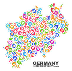 Mosaic technical North Rhine-Westphalia Land map isolated on a white background. Vector geographic abstraction in different colors.