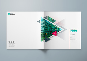 Teal Square Business Report Cover Layout with Triangles