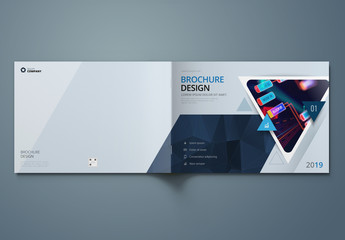 Horizontal Blue Business Report Cover Layout with Triangles