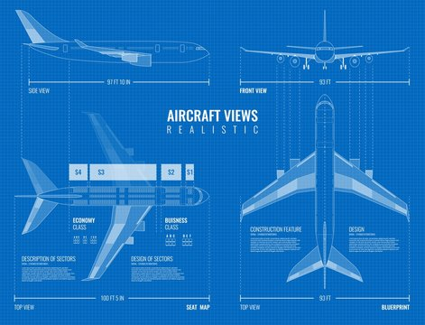 Outline Airplane Views Blueprint