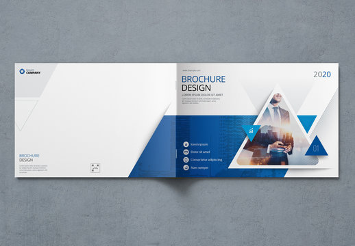 Landscape Business Report Cover Layout with Blue Triangles