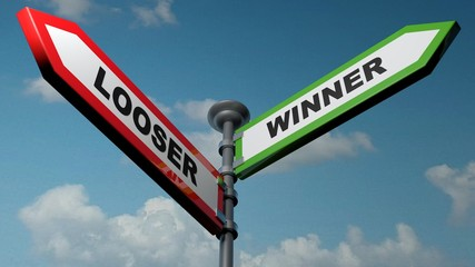 Looser - Winner street signs - 3D rendering illustration