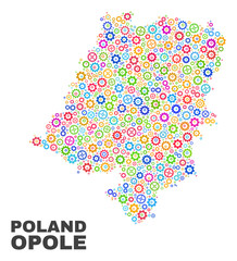 Mosaic technical Opole Voivodeship map isolated on a white background. Vector geographic abstraction in different colors.