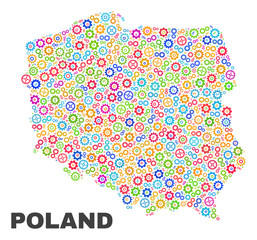 Mosaic technical Poland map isolated on a white background. Vector geographic abstraction in different colors. Mosaic of Poland map combined of scattered multi-colored cog elements.