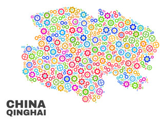 Mosaic technical Qinghai Province map isolated on a white background. Vector geographic abstraction in different colors.