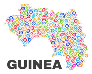 Mosaic technical Republic of Guinea map isolated on a white background. Vector geographic abstraction in different colors.