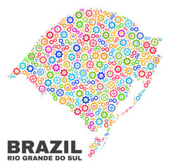 Mosaic technical Rio Grande do Sul State map isolated on a white background. Vector geographic abstraction in different colors.