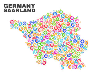 Mosaic technical Saarland Land map isolated on a white background. Vector geographic abstraction in different colors. Mosaic of Saarland Land map combined of random multi-colored wheel elements.