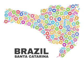 Mosaic technical Santa Catarina State map isolated on a white background. Vector geographic abstraction in different colors.