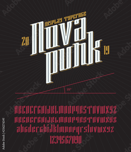 Vector Modern gothic Font  Industrial serif alphabet with various