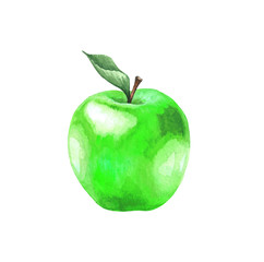 Green apple with a leaf. Illustration of a sweet fruit on a white background. Isolated drawing.