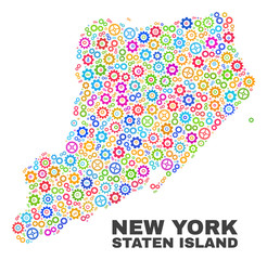 Mosaic technical Staten Island map isolated on a white background. Vector geographic abstraction in different colors. Mosaic of Staten Island map composed from random multi-colored wheel elements.