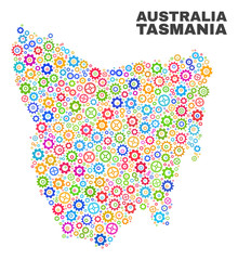 Mosaic technical Tasmania Island map isolated on a white background. Vector geographic abstraction in different colors. Mosaic of Tasmania Island map combined of scattered multi-colored cog elements.