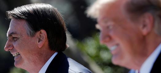 U.S. President Trump and Brazilian President Bolsonaro hold news conference at the White House in Washington