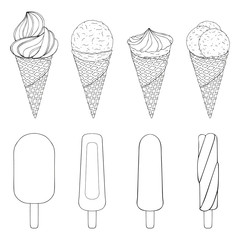 Collection of hand drawn ice cream. vector illustration. isolated objects. Black and white.
