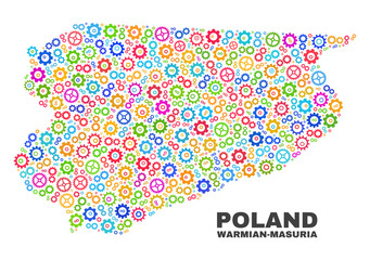 Mosaic technical Warmian-Masurian Voivodeship map isolated on a white background. Vector geographic abstraction in different colors.