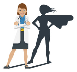 A young woman medical doctor revealed as super hero by his shadow silhouette