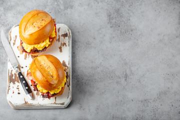 Breakfast sandwiches with scrambled egg