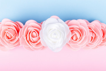 Wall Mural - artificial roses on a colored background
