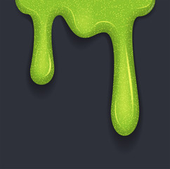 Background of dribble slime. Flowing green sticky liquid. Melted paint drips and flowing. Vector illustration with toxic blob on grey background