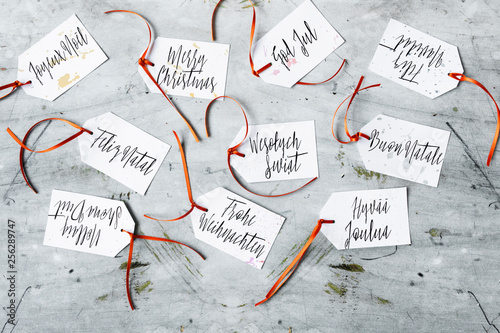 Merry Christmas Wrote In Several Languages Diy Gift Tags