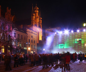 Concert at Old Market Square in Torun.  Poland