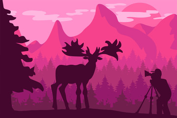 Wildlife, nature photographer flat vector illustration