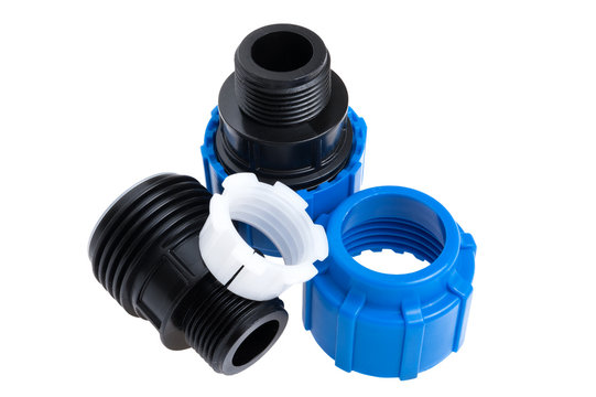 fittings for polyethylene pipes isolated