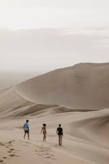 Namibia, Namib, three friends walking down desert dune