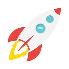 Rocket with fire on white background