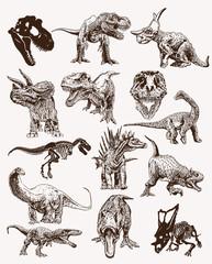 Graphical vintage set of dinosaurs ,retro background,vector illustration