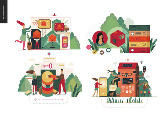 Technology 2 set - modern flat vector concept digital illustration- Marketing Promotion, Solution, Intelligent building, CRM Customer Relationship Management. Creative landing web page design template