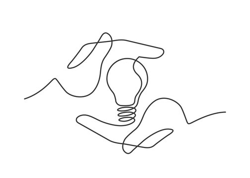 hands lamp one line