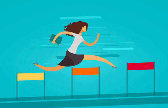 Businesswoman runs on obstacle course. Business concept. Vector illustration