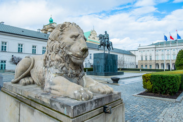 The Presidential Palace in Warsaw and the statue of Prince Poniatowski