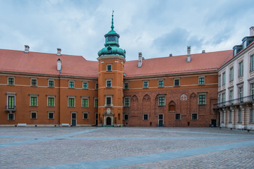Courtyard of Royal Castle in Old Town of Warsaw, Poland