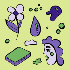 Purple doodle style illustration with abstract symbols - human head, flower, drop, book, cloud, circles. Perfect illustration for coloring book, textile. Surreal art isolated on green background
