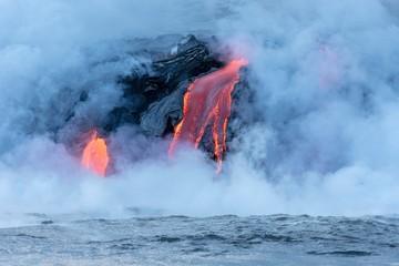 Lava entering ocean, Kamokuna, Kilauea Volcano, Hawai'i Volcanoes National Park, Big Island, Hawai'i, USA, North America