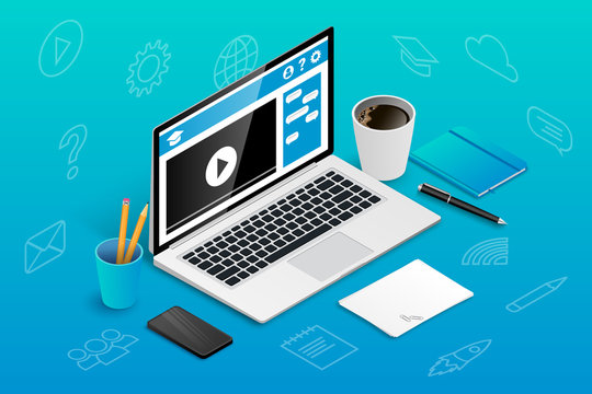 Isometric online education banner icons