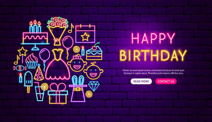 Happy Birthday Neon Banner Design