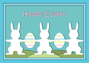 Vector Easter card template. Easter holiday illustration with rabbits and eggs. Paper cutout effect