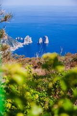 Italy, Campania, Capri, Anacapri, Faraglioni rocks, view from Monte Solaro