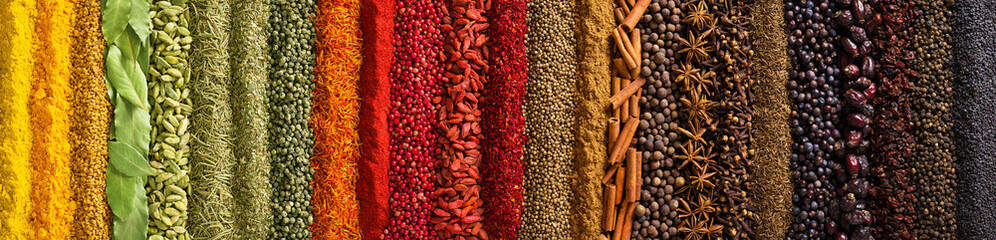 Fototapete - Panorama spices and herbs for food labels. Seasonings and flavors background