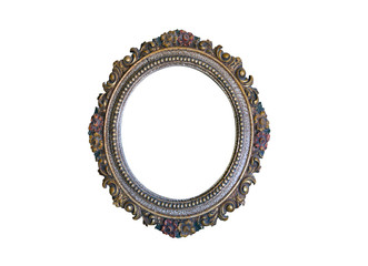 Old oval golden frame