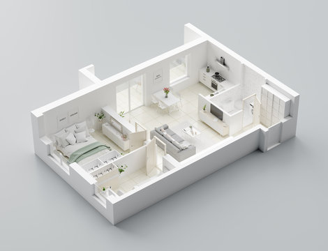 3D Floor plan of a home, 3D illustration. Open concept living apartment layout