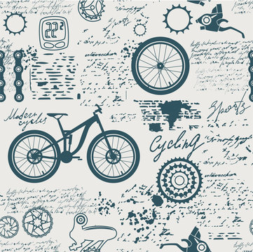 Bicycles.Vector abstract seamless pattern on the theme of bikes, adventures and discoveries. Old manuscript with spare parts, and other symbols with blots and stains in vintage style.